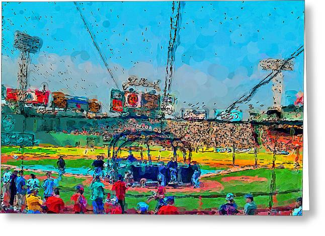 Red Sox Art Greeting Cards - Batting Cage Fenway Greeting Card by John Farr