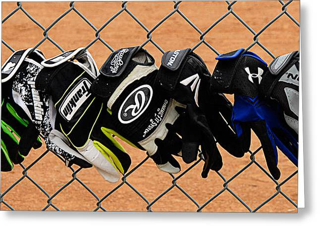 Batting Gloves Greeting Card by Ron Regalado