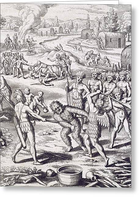 Prisoner Paintings Greeting Cards - Battle between Tuppin tribes Greeting Card by Theodore De Bry