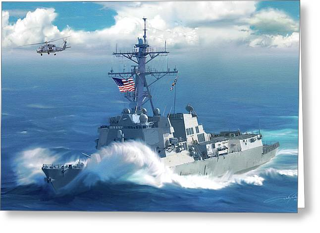 Usn Greeting Cards - Battle Ensign Greeting Card by Dale Jackson
