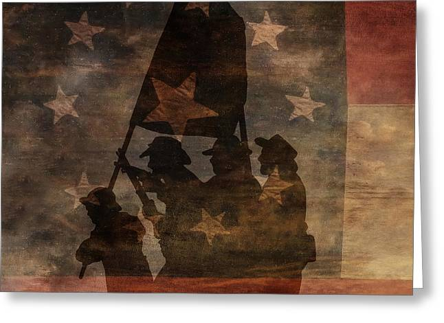 Battle Flag Silhouette 1st of Three Greeting Card by Randy Steele