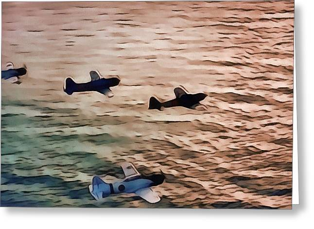 Military Airplanes Greeting Cards - Battle Formation At Sunrise Greeting Card by Dan Sproul