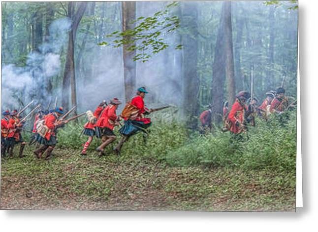 Royal Art Greeting Cards - Battle in the Forest Bushy Run Panorama Greeting Card by Randy Steele