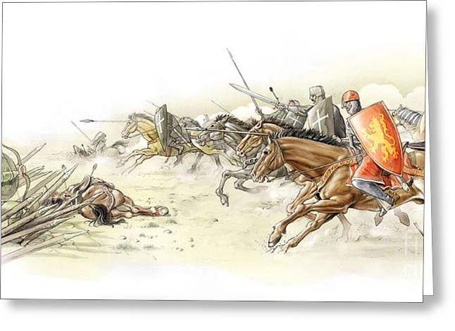 Saracen Greeting Cards - Battle Of Arsuf, Third Crusades, 1191 Greeting Card by Jose Antonio Pe??as