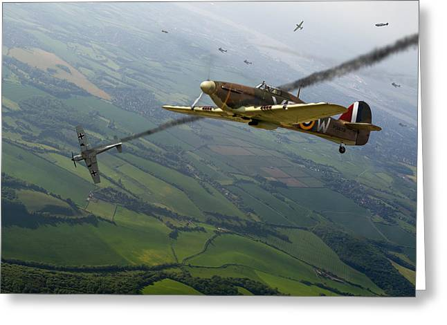 Me-109 Greeting Cards - Battle of Britain dogfight Greeting Card by Gary Eason