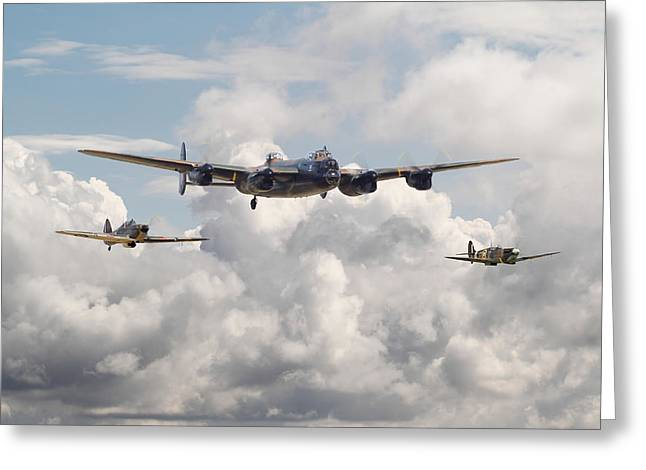 Spitfire Greeting Cards - Battle of Britain - Memorial Flight Greeting Card by Pat Speirs