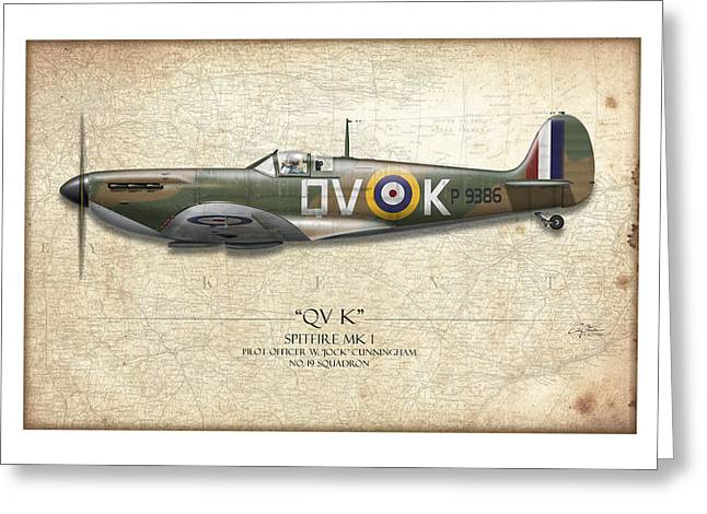 Mkix Greeting Cards - Battle of Britain QVK Spitfire - Map Background Greeting Card by Craig Tinder