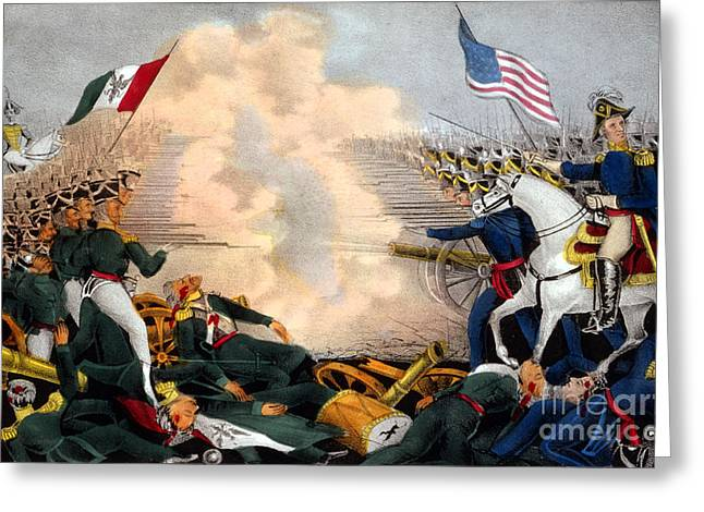 Mexican American Greeting Cards - Battle Of Buena Vista Mexican-american Greeting Card by Photo Researchers