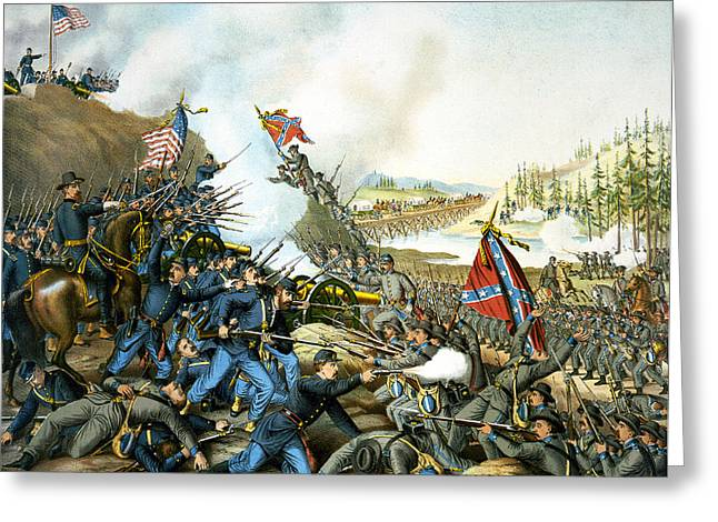 Battle Of Franklin Greeting Cards - Battle of Franklin Greeting Card by Unknown