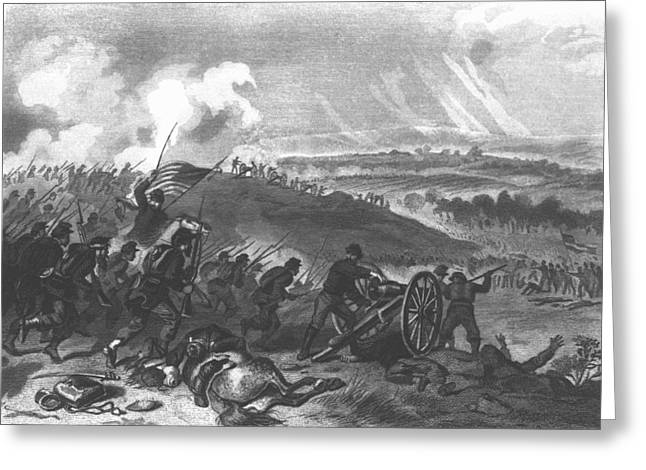 Civil Greeting Cards - Battle Of Gettysburg - Final Charge Of The Union Forces At Cemetery Hill, 1863 Pub. 1865 Engraving Greeting Card by American School