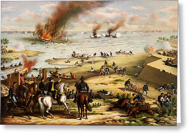 Battle Of Hampton Roads Greeting Card by Celestial Images