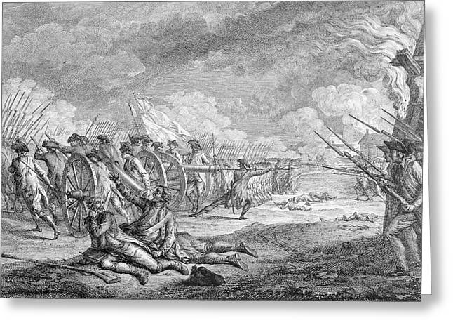Battle Greeting Cards - Battle Of Lexington, April 19th 1775, From Recueil Destampes By Nicholas Ponce, Engraved Greeting Card by Francois Godefroy
