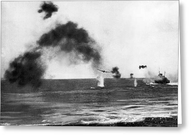 Battle Of Midway Greeting Card by Underwood Archives