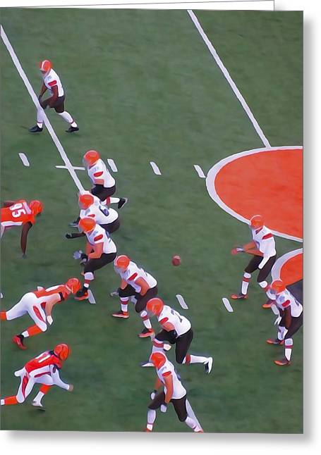 Goal Line Greeting Cards - Battle Of Ohio In NFL Greeting Card by Dan Sproul