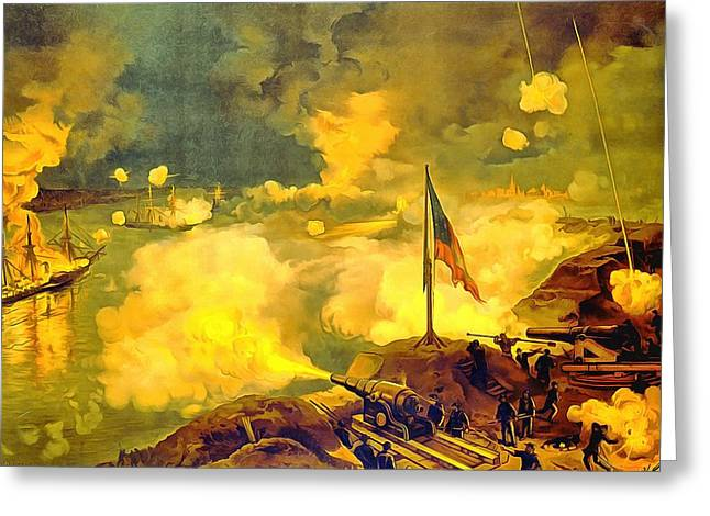 Confederate Flag Paintings Greeting Cards - Battle Of Port Hudson Greeting Card by Vintage Image Collection