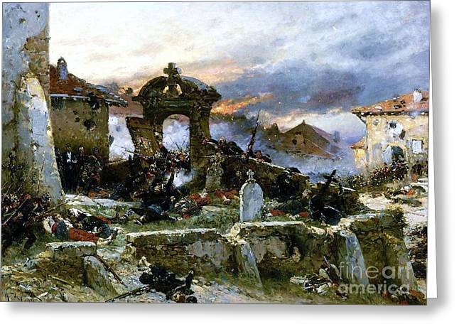 Cemetary Paintings Greeting Cards - Battle of Saint Privat Cemetary Greeting Card by Pg Reproductions