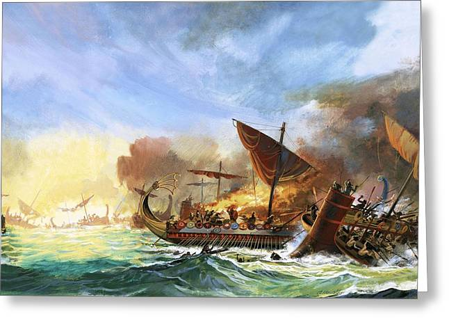 Persian Illustration Greeting Cards - Battle Of Salamis Greeting Card by Andrew Howat