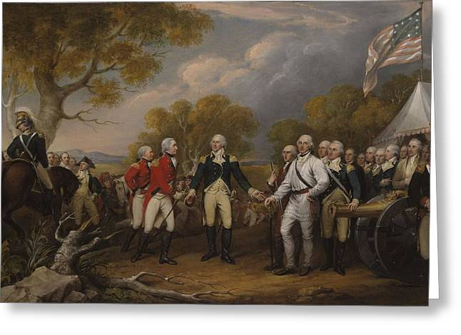 Flag Of Usa Greeting Cards - Battle Of Saratoga, The British General John Burgoyne Surrendering To The American General, Horatio Greeting Card by John Trumbull