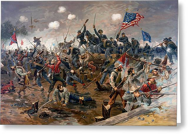 Recently Sold -  - Bayonet Greeting Cards - Battle Of Spottsylvania Greeting Card by Thure de Thulstrup