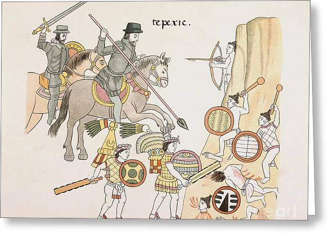 Lienzo Greeting Cards - Battle Of Tepexic, Lienzo De Tlaxcala Greeting Card by British Library