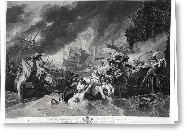 Marshal Greeting Cards - Battle Of The Hague, 29th May 1692, Engraved By William Woollett 1735-85 1781 Aquatint Bw Photo Greeting Card by Benjamin West