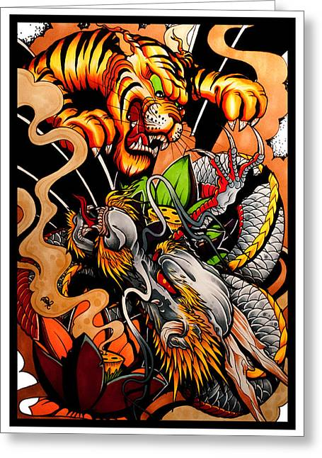 Oriental Tiger Greeting Cards - Battle of the Heavens Dragon Vs Tiger Greeting Card by Brokenpuppet