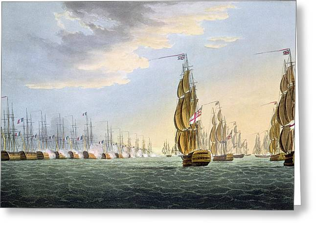 Historic Ship Greeting Cards - Battle Of The Nile Greeting Card by Thomas Whitcombe