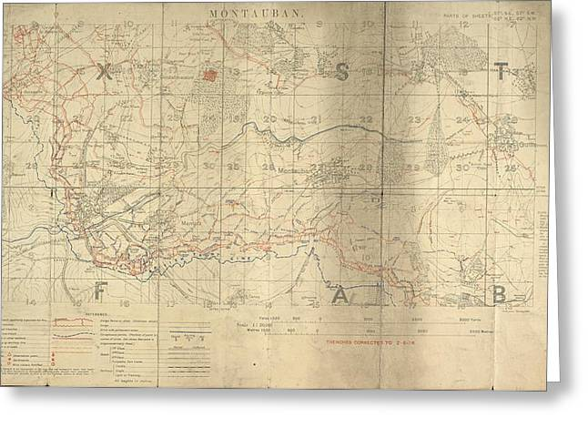 Battle Of The Somme Trench Map Greeting Card by British Library