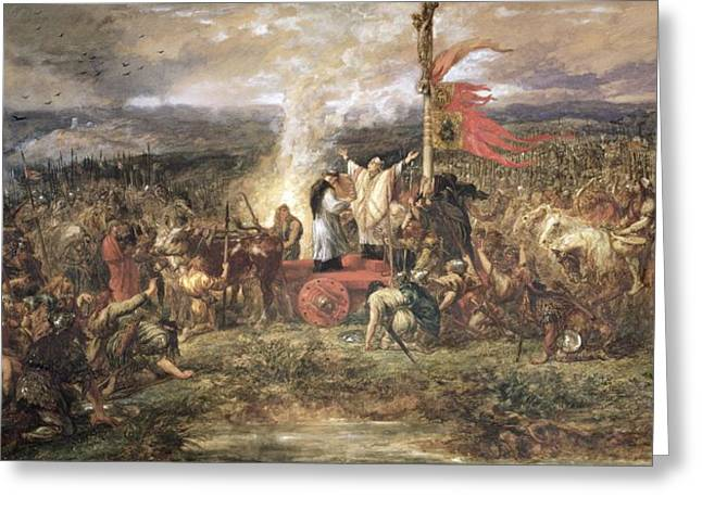 Him Greeting Cards - Battle Of The Standard, Northallerton, 22nd August 1138, 1880 Wc On Paper Greeting Card by Sir John Gilbert