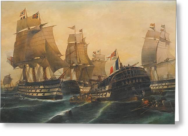 Battle Of Trafalgar Greeting Cards - Battle Of Trafalgar Greeting Card by Konstantinos Volanakis