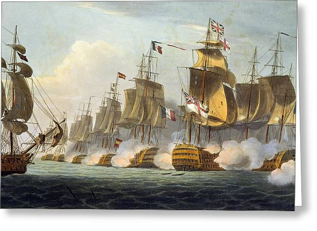 Cannon Drawings Greeting Cards - Battle Of Trafalgar Greeting Card by Thomas Whitcombe