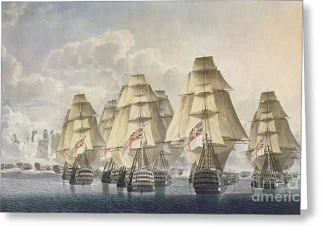 """sailing Ship"" Greeting Cards - Battle of Trafalgar Greeting Card by Robert Dodd"