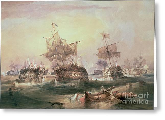 Boats In Water Greeting Cards - Battle of Trafalgar Greeting Card by William John Huggins
