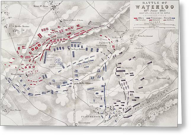 Strategy Drawings Greeting Cards - Battle Of Waterloo Greeting Card by Alexander Keith Johnston