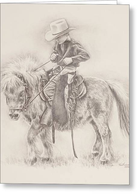 Ranch Drawings Greeting Cards - Battle of Wills Greeting Card by Kim Lockman