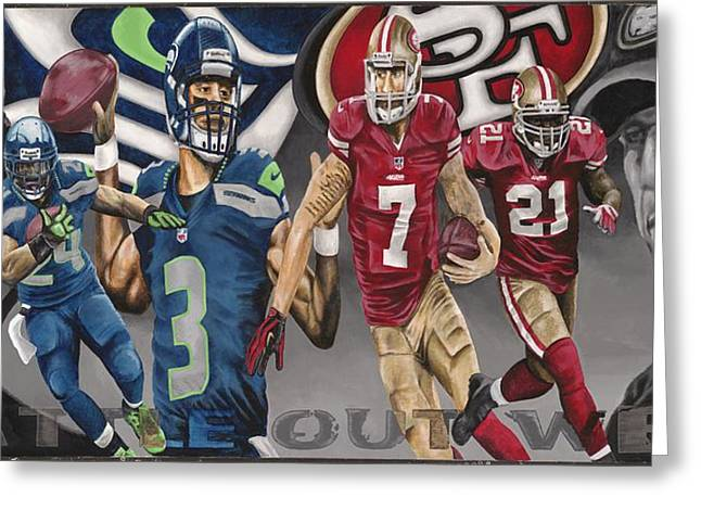 49ers Paintings Greeting Cards - BATTLE out WEST Greeting Card by Dustin Handy