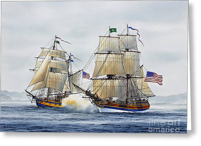 Tall Ship Canvas Greeting Cards - Battle Sail Greeting Card by James Williamson