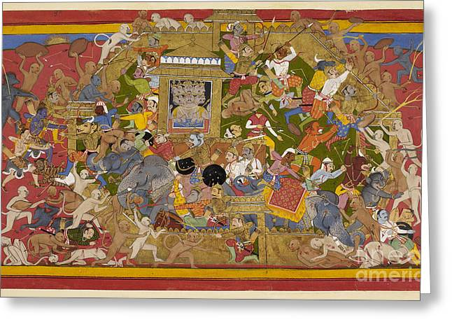 Rama Greeting Cards - Battle Scene At Lanka Greeting Card by British Library