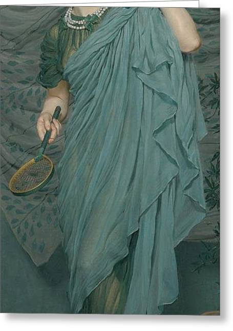 Blue Necklace Greeting Cards - Battledore Greeting Card by Albert Joseph Moore