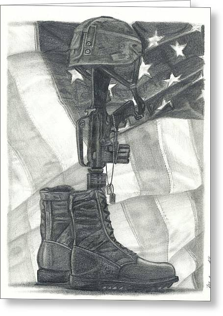 Iraq Drawings Greeting Cards - Battlefield Cross Greeting Card by Melena Paradee