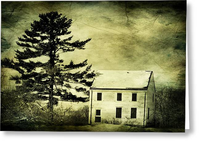 White Frame House Digital Greeting Cards - Battlefield Farmhouse with texture Greeting Card by Geraldine Scull