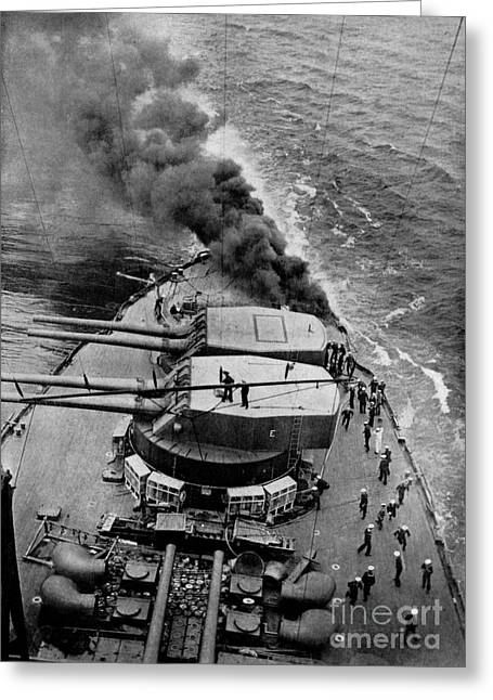 Dreadnought Greeting Cards - Battleship Ablaze In Mid-ocean Greeting Card by Celestial Images