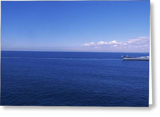 New England Ocean Greeting Cards - Battleship Being Towed In The Sea, Uss Greeting Card by Panoramic Images