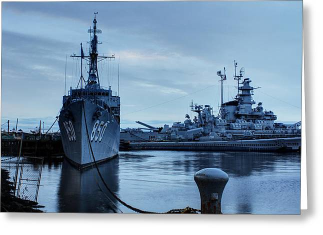 Andrew Pacheco Greeting Cards - Battleship Cove Greeting Card by Andrew Pacheco