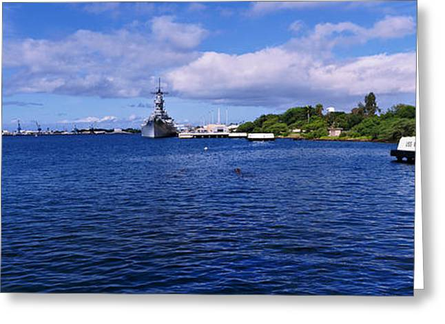 Missouri Photography Greeting Cards - Battleship Missouri Memorial, Pearl Greeting Card by Panoramic Images