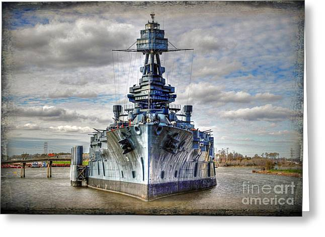 Hdr Landscape Greeting Cards - Battleship Texas  Greeting Card by Savannah Gibbs