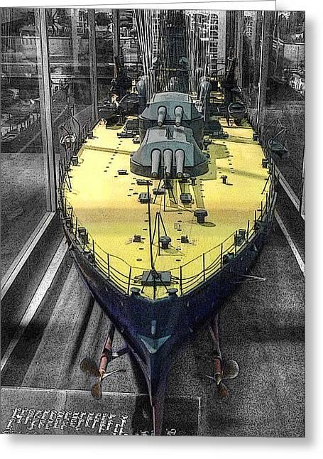 Historic Ship Greeting Cards - Battleship U S S Oklahoma B B-37 Greeting Card by John Straton