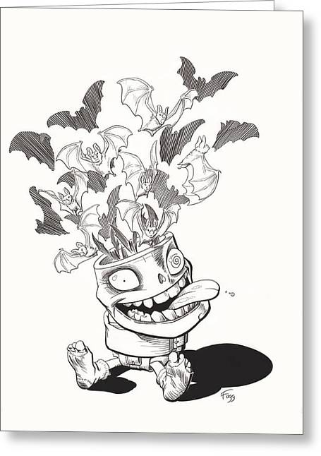 Batty Greeting Card by Richard Moore