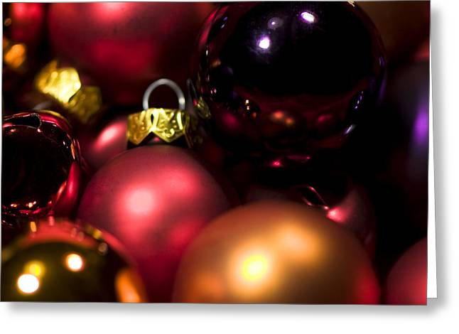 Trimmings Greeting Cards - Bauble Abstract Greeting Card by Anne Gilbert