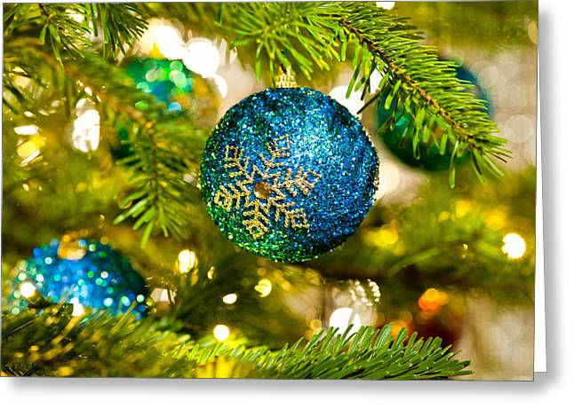Advent Greeting Cards - Bauble in a Christmas tree  Greeting Card by Ulrich Schade